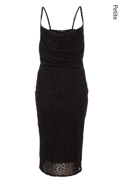 Petite Black Animal Midi Dress
